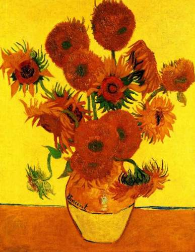 Still Life Vase with Fifteen Sunflowers [3]